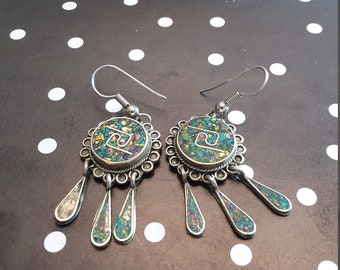 FREE SHIPPING! Alpaca Mexico stamped mixed turqouse vintage dangle earrings