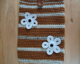 Crocheted iPad Sleeve/Cozy/Cover/Case in Honey Gold and Shades of Beige