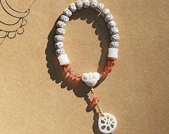 natural bodhi seed /plant seed/Lapis lazuli/agate/blue coral/Tibetan Buddhism Meditation yoga prayer beaded bracelet with jade lotus pendant