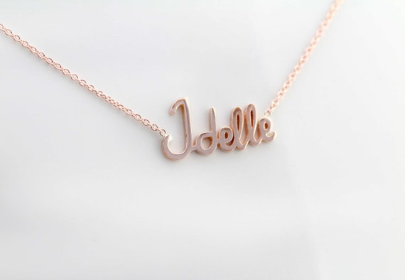 14K Gold Name Necklace, Personalized Name Necklace, Name Plate Necklace, Bridesmaid Gift, Birthday Gift, Custom Name Necklace, Solid Gold