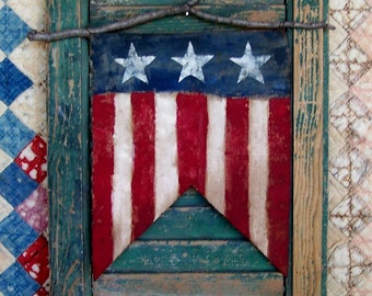 Flag Wall Hanging, American Flag Banner, Rustic Americana Decor, Painted Flag Pennant, Farmhouse Style, Primitive Wall Decor - READY TO SHIP