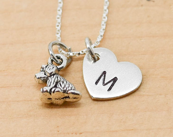 Dog Necklace, Dog Charm, Dog Pendant, Initial Necklace, Personalized Necklace, Sterling Silver Necklace, Charm Necklace, Bridesmaid Gift