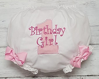 Light Pink and Hot Pink Birthday Girl Diaper Cover Bloomers  design your own