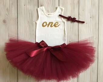 Burgundy Wine Baby Girl 1st Birthday Outfit | Baby Tutu | Tutu Dress | Birthday Dress | Baby Girls Cake Smash Outfits | Birthday Tutu
