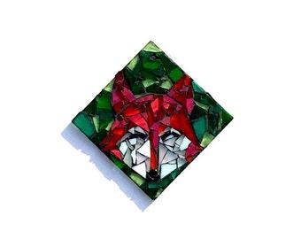 Fox Suncatcher, Woodland Mosaic Ornament, Wildlife Glass Art, Stained Glass Decor, Ready to Ship