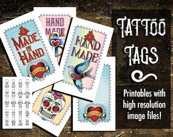 "Laundry Care Tags, Gift Tags, Tattoo-Style Art,  300 DPI, 2 x 3-1/2"", Vector, PDF, and PNGs, Printables, Templates and Instructions"