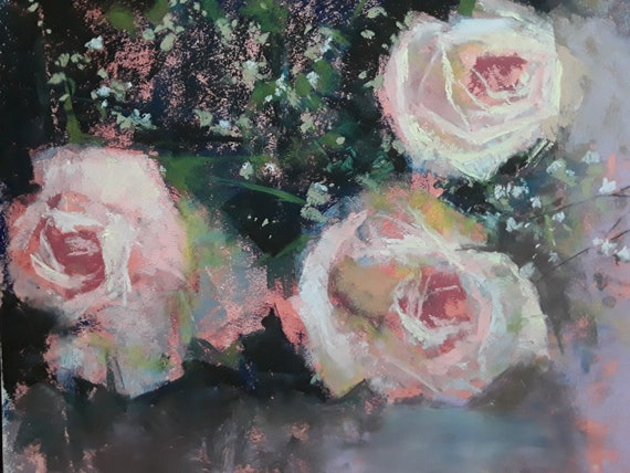 Three Pink Roses, 11 x 14, pastel on paper,4/9/18 LIVE DEMO
