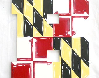 Maryland Flag Painted Letters, Maryland Flag Nursery Letters Maryland Flag Wall Hangings Maryland Monogram Photo Prop, Maryland Wedding Prop