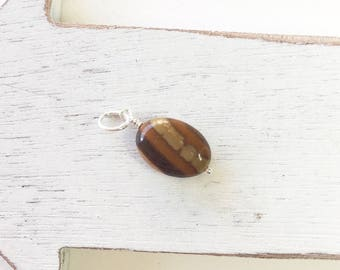 Zebra jasper, jasper dangle, necklace add on, necklace accessory, brown stone, sterling silver, small gift,gift for her, brown pendant