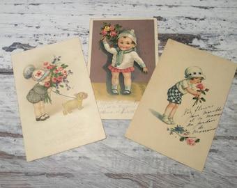Vintage Illustrated Postcard Lot . Set of 3 Vintage Postcards . Floral Children Postcards . Kids .
