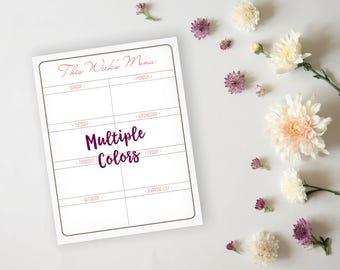 Printable Menu Planner - Simple Elegant Grid Dinner Menu Planner Sheet - Dinner Menu
