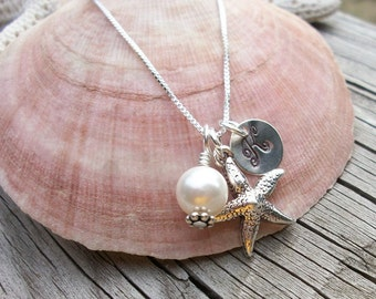 Island or Beach Destination Wedding - Bride or Bridal Party Starfish, Pearl, and Stamped Initial Sterling Silver Necklace
