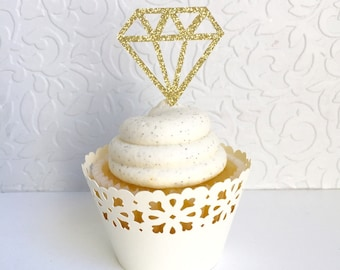 Diamond Cupcake Toppers (Set of 12) Donut Toppers, Bachelorette Party, Bridal shower