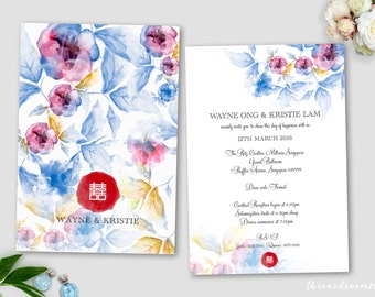 Printable Wedding Invitation Set | wedding Invitation + RSVP Card |Oriental Floral | Blue | Red | Double Happiness