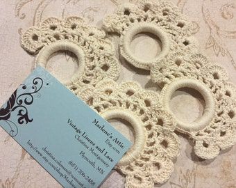 Set of 4 Ivory Hand Crochet Napkin rings for housewares, dining, entertaining, and home decor by MarlenesAttic