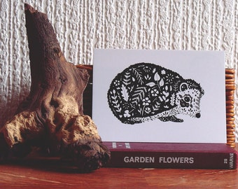 Illustrated Hedgehog Postcard // Hedgehog Ink Drawing // Hedgehog Illustration // Woodland Animal Art// Black and White Botanical Print
