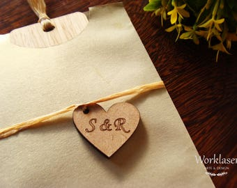 50 Wooden Tags, Wedding Tags, MDF Initials Tags, Heart wooden tags, Wedding favor tags