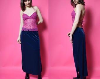 Vintage 90's Blue Velvet Maxi Skirt / Midnight Blue Long Skirt - Size Large