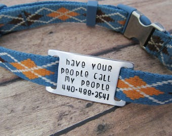 Have Your People Call My People Dog Tag - Silent Pet ID - Slide On Collar - Quiet Dog Tag