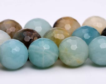 "6MM Faceted Amazonite Natural Gemstone Half Strand Round Loose Beads 7.5"" (100882h-318)"