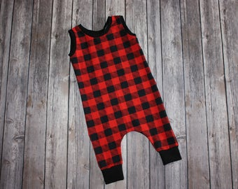 Toddler Romper, Baby Romper, Red Plaid, Baby Harem Romper, Baby Girl Romper, Baby Boy Romper