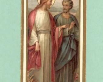 1920s Lithograph Vintage Holy card, Jesus Christ Preaching, Apostle Peter, TINY Holy card, Miniature Christian ephemera