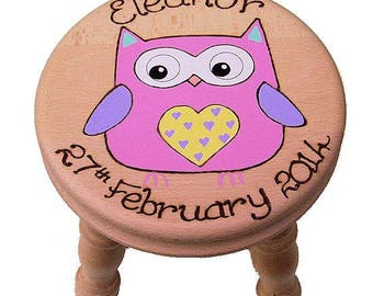 Personalised Wooden Beech Stool for Girls