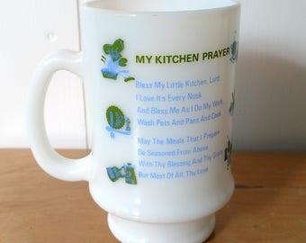 vintage milk glass prayer mug