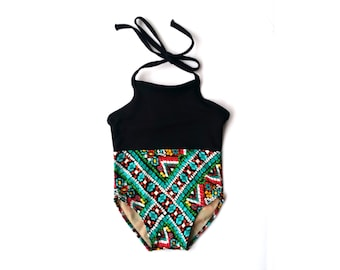 CLEARANCE! | Tribal Print Baby Girl Swimsuit | Black Mosaic Halter Baby Bathing Suit | Boho Baby Swimsuit | Boho Chic  | Size 12 Months