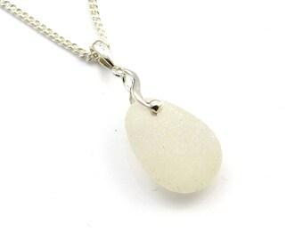 Sea Glass Jewellery Sea Glass Necklace Beach Glass Jewellery Seaglass Jewelry Upcycled Glass Snow White Sea Glass Necklace  ALEJANDRA