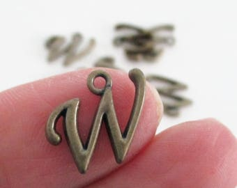 Letter W - Brass Charm Uppercase Alphabet - Alphabet Initial W Pendant/ Loop - Jewelry findings - 9 PCS - DIY Bronze Personalized Beads