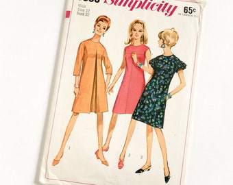 Vintage 1960s Womens Size 12 One Piece Mod A-Line Dress Simplicity #6865 Sewing Pattern Complete bust 32 waist 25""