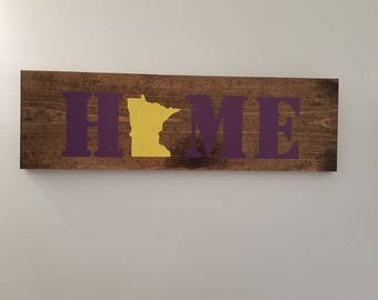 Home State Sign, State Pride, MN Sign, Rustic Decor, Country, Vikings