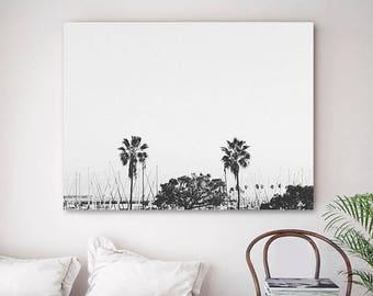 Monochrome Palm Tree Print Coastal Photography Harbour Bay Black White Grey Art Printable Coast Poster Trees Artwork Modern Photo