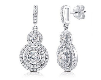 Double Tier Crystal Halo Sterling Silver 925 Earrings