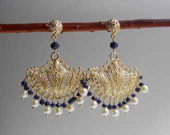 Sapphire and Pearl Ourania Earrings