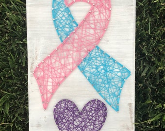 String Art Home Decor - Cancer/Loss Ribbon with Heart -