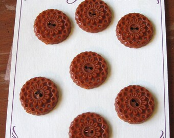 Vintage 1950's Butterscotch Brown Plastic Buttons (Card of 7)