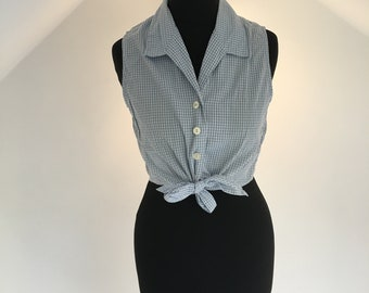 Women's vintage light blue gingham blouse