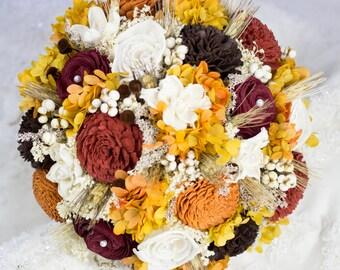 Fall Weeding Bouquet, Bridal Sola Flower Bouquet, Black Wheat Woodland Fall Bridal Bouquet, Rustic Bouquet Keepsake Bridal Bouquet