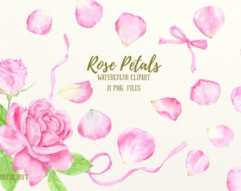 Watercolor Clip Art Pink Rose Petals for instant download scrapbook watercolor rose printable