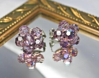 Vintage Purple Iridescent Cluster Earrings, c1950s,  Vntg Clip On Purple Cluster Earrings, Retro Purple Earrings