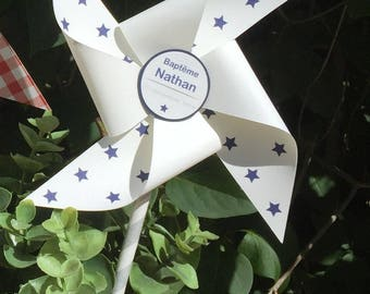 Navy windmill baptism, stars, blue, set of 7