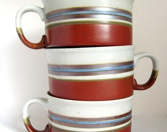 3 OTAGIRI MIRAGE Stoneware SOUP Mugs Rust, Tan, Brown & Blue Bands