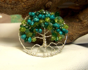 Tree of Life Brooch - Sterling Silver, Peridot, Emerald Green Aventurine, Turquoise, Aquamarine Blue gemstones - necklace pendant