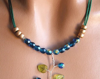Blue and green necklace branch beads