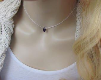 Dainty Amethyst Necklace, February Birthstone, Amethyst Crystal, Simple Necklace, Amethyst Jewelry, Purple Gemstone, Choker Necklace