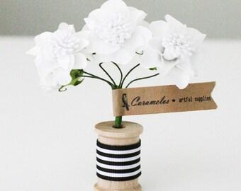 12  White Pom paper flowers