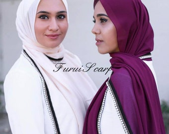 Bubble chiffon scarves with pearl lace