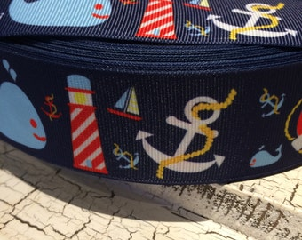 """1.5"""" Nautical Whale Lighthouse Anchor Blue Ocean Grosgrain Ribbon sold by the yard"""